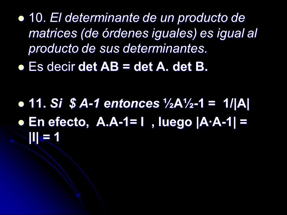 10. El determinante de un producto de matrices (de órdenes iguales) es igual al producto de sus determinantes.