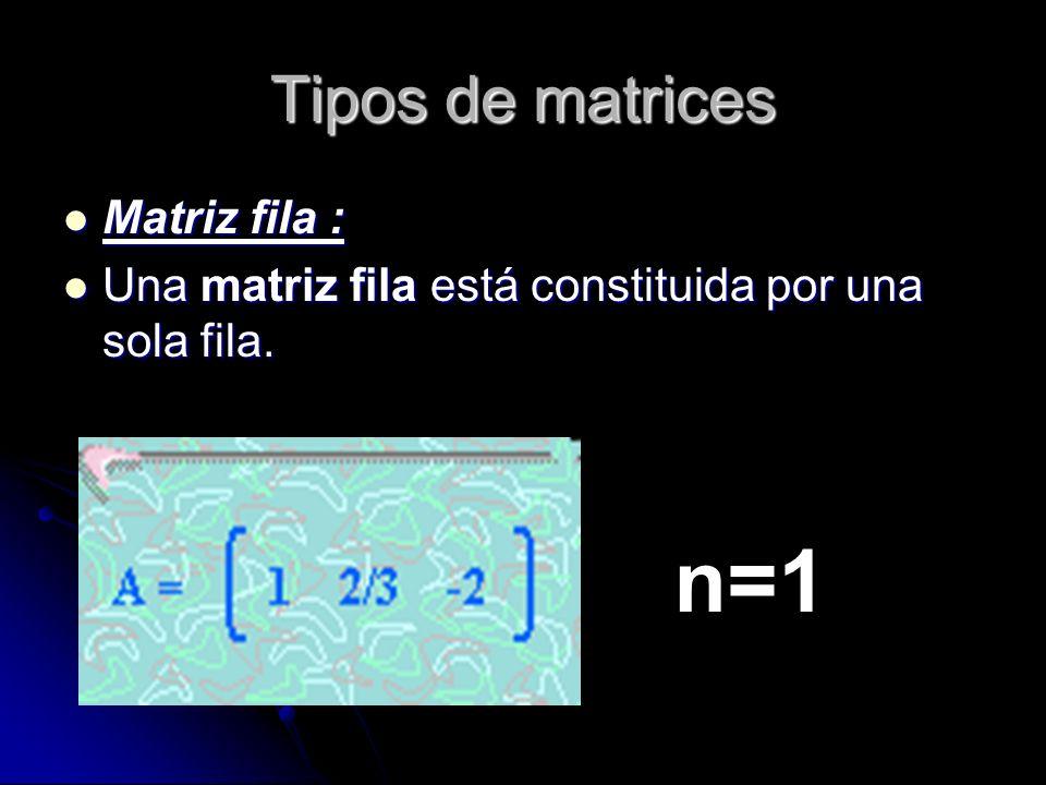 n=1 Tipos de matrices Matriz fila :
