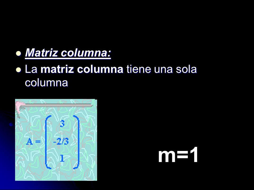 Matriz columna: La matriz columna tiene una sola columna m=1