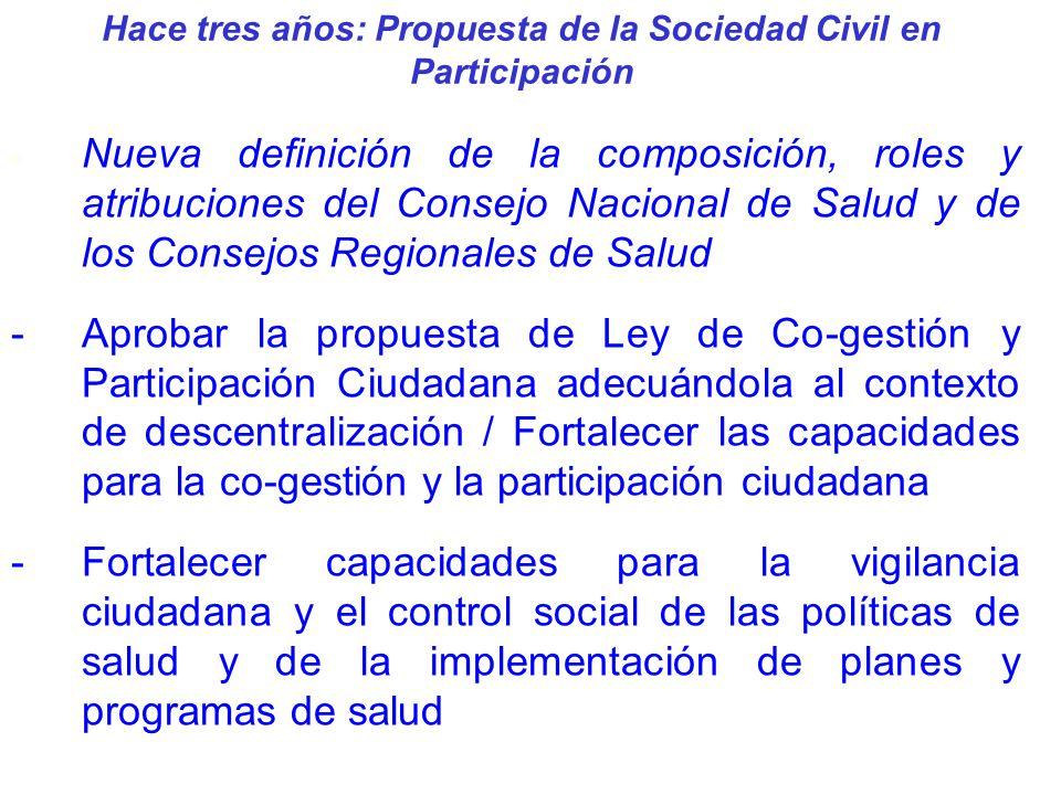 Hace tres años: Propuesta de la Sociedad Civil en Participación