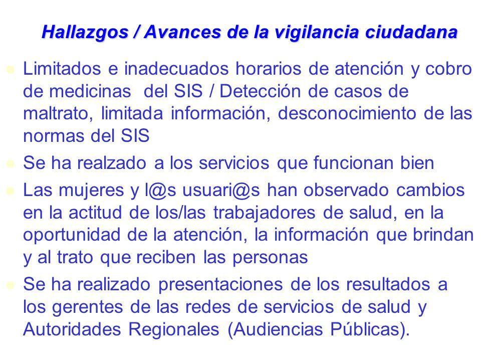 Hallazgos / Avances de la vigilancia ciudadana