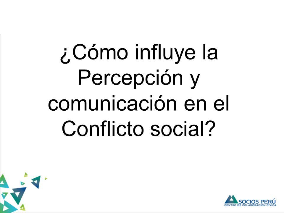 ¿Cómo influye la Percepción y comunicación en el Conflicto social