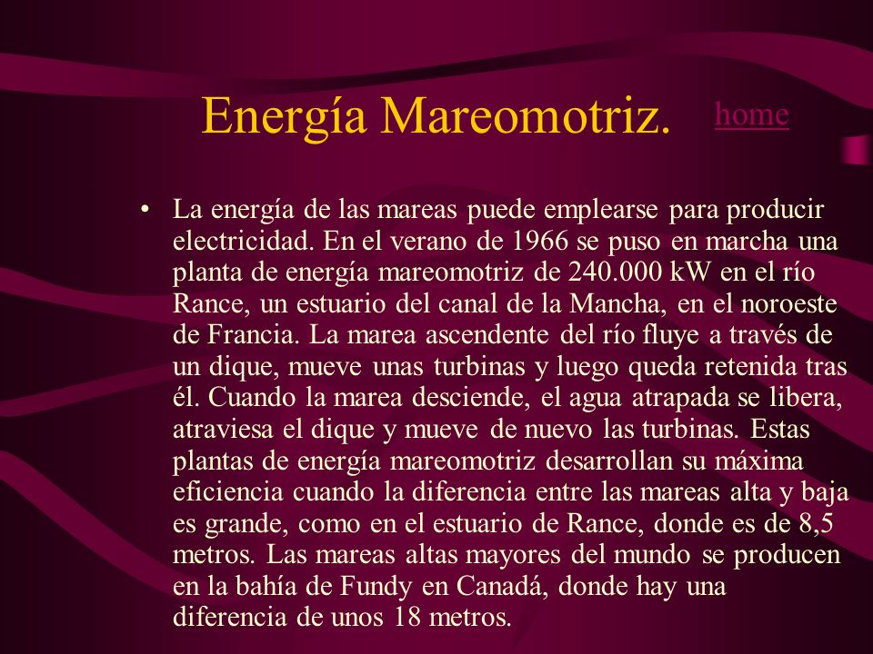 Energía Mareomotriz. home