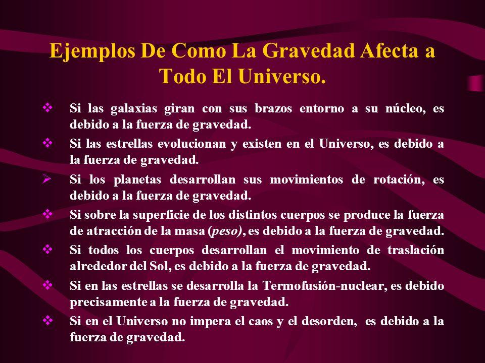 Ejemplos De Como La Gravedad Afecta a Todo El Universo.