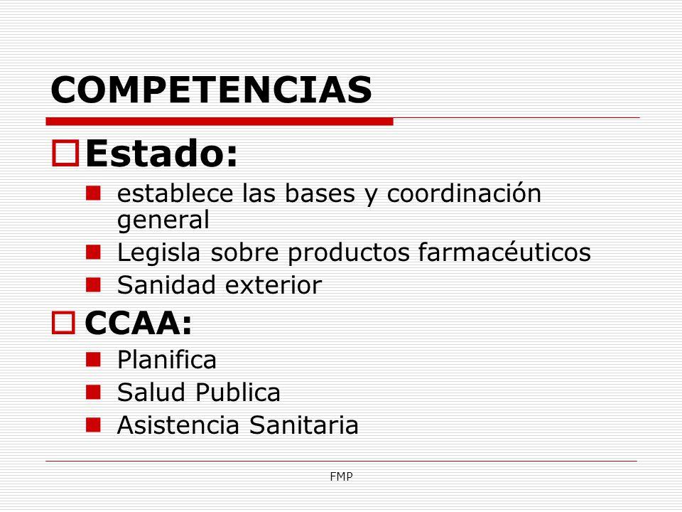 Estado: COMPETENCIAS CCAA: establece las bases y coordinación general