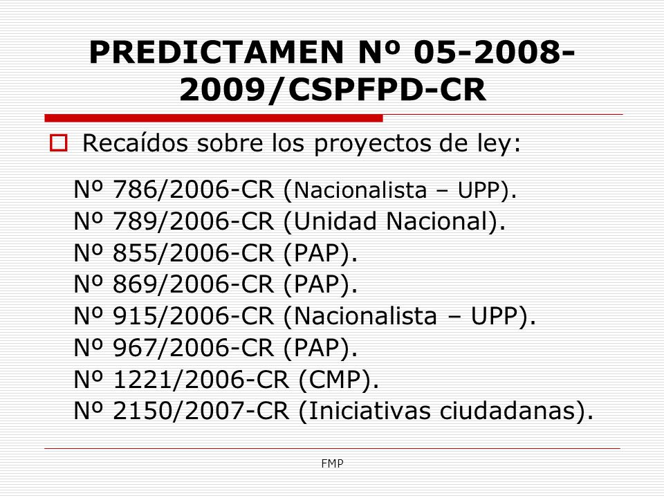 PREDICTAMEN Nº 05-2008-2009/CSPFPD-CR