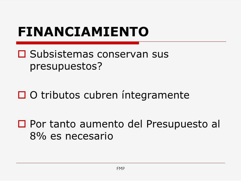 FINANCIAMIENTO Subsistemas conservan sus presupuestos