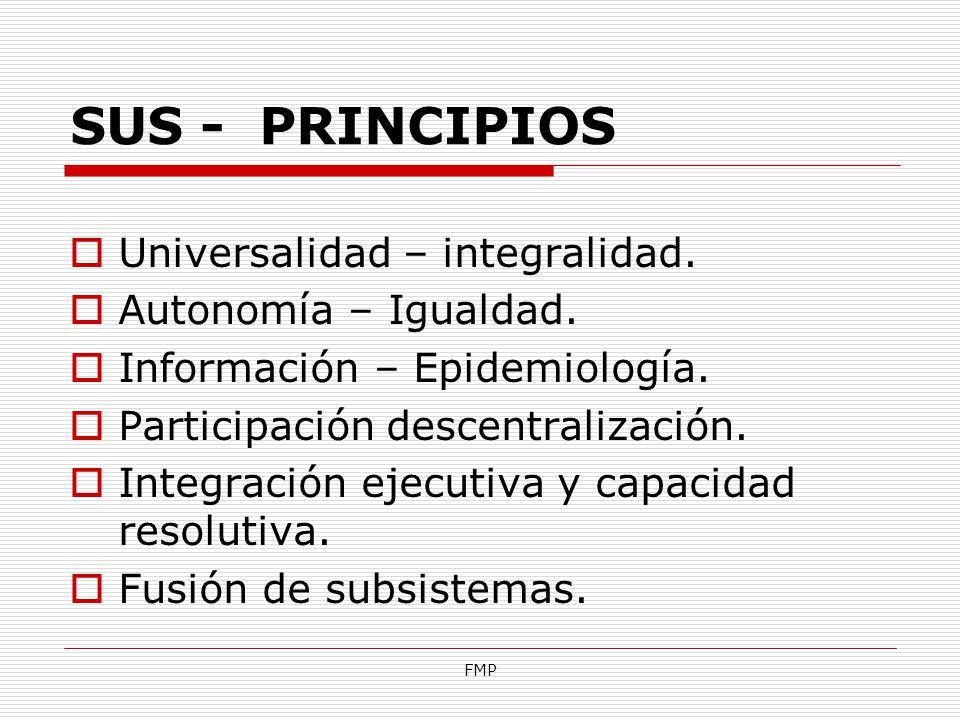SUS - PRINCIPIOS Universalidad – integralidad. Autonomía – Igualdad.