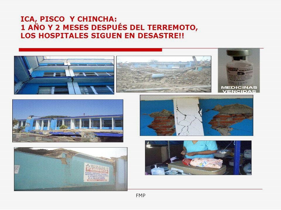 ICA, PISCO Y CHINCHA: 1 AÑO Y 2 MESES DESPUÉS DEL TERREMOTO, LOS HOSPITALES SIGUEN EN DESASTRE!!