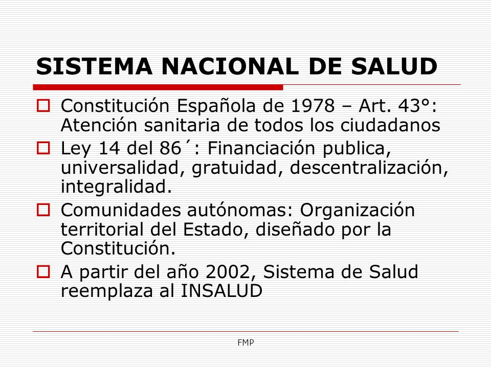 SISTEMA NACIONAL DE SALUD