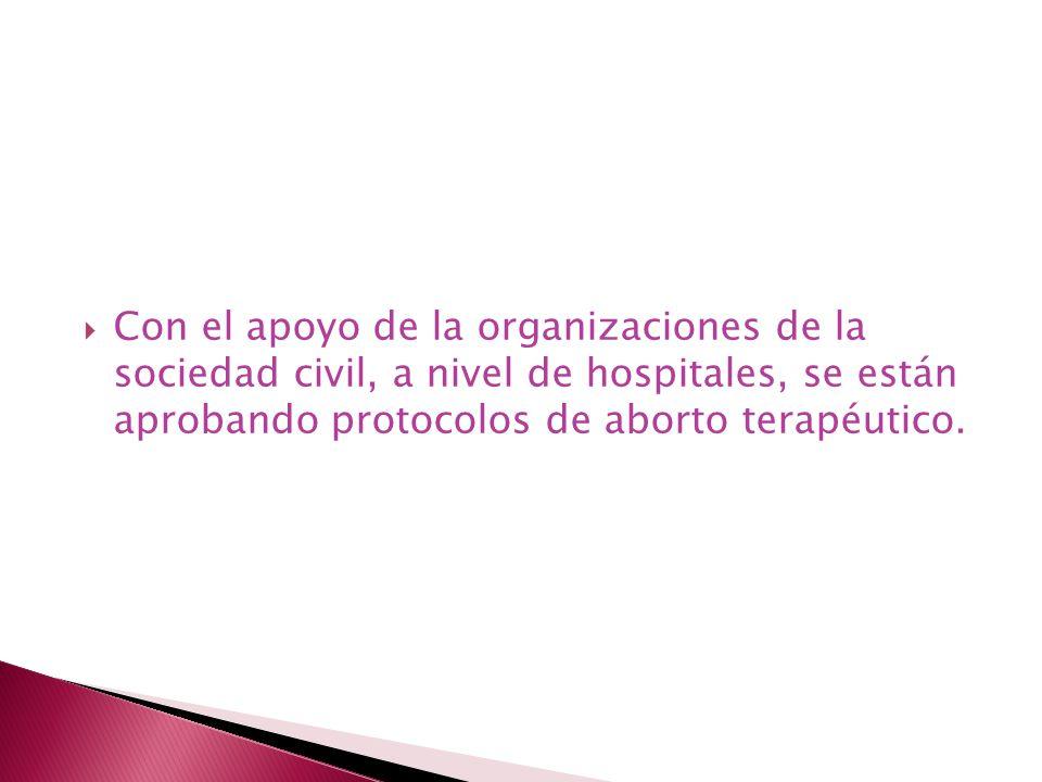 Con el apoyo de la organizaciones de la sociedad civil, a nivel de hospitales, se están aprobando protocolos de aborto terapéutico.