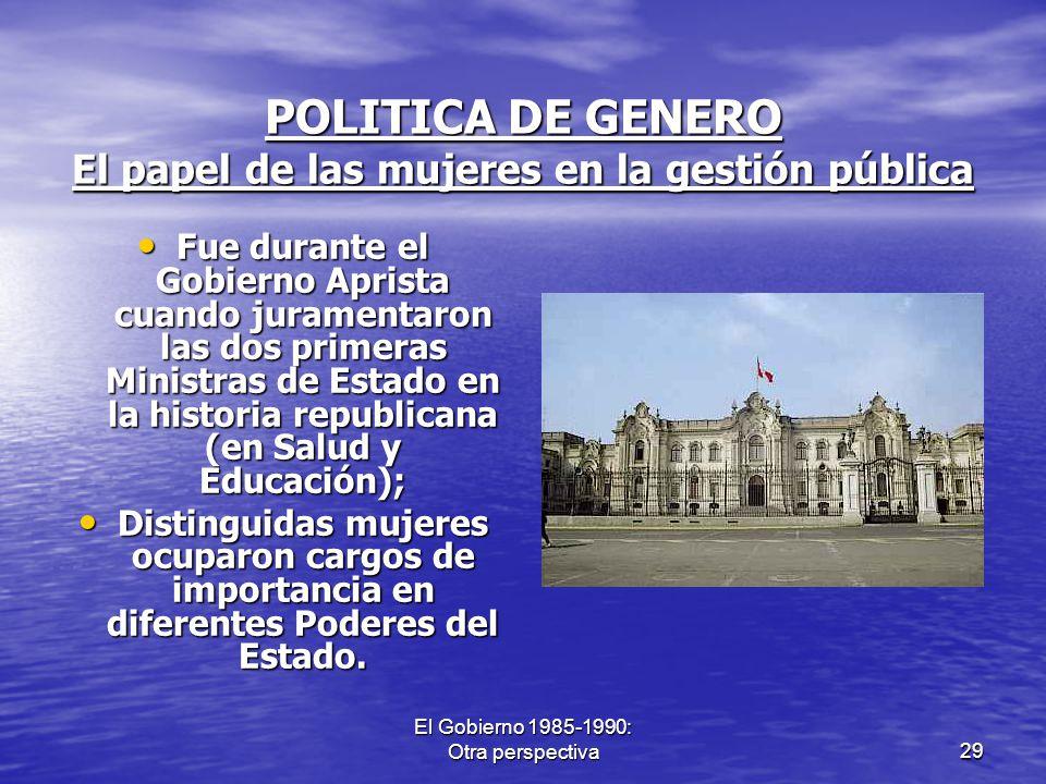 POLITICA DE GENERO El papel de las mujeres en la gestión pública