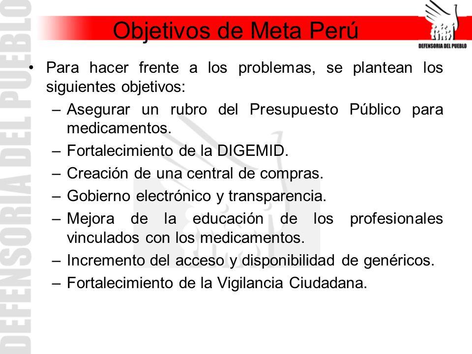 Objetivos de Meta Perú Para hacer frente a los problemas, se plantean los siguientes objetivos: