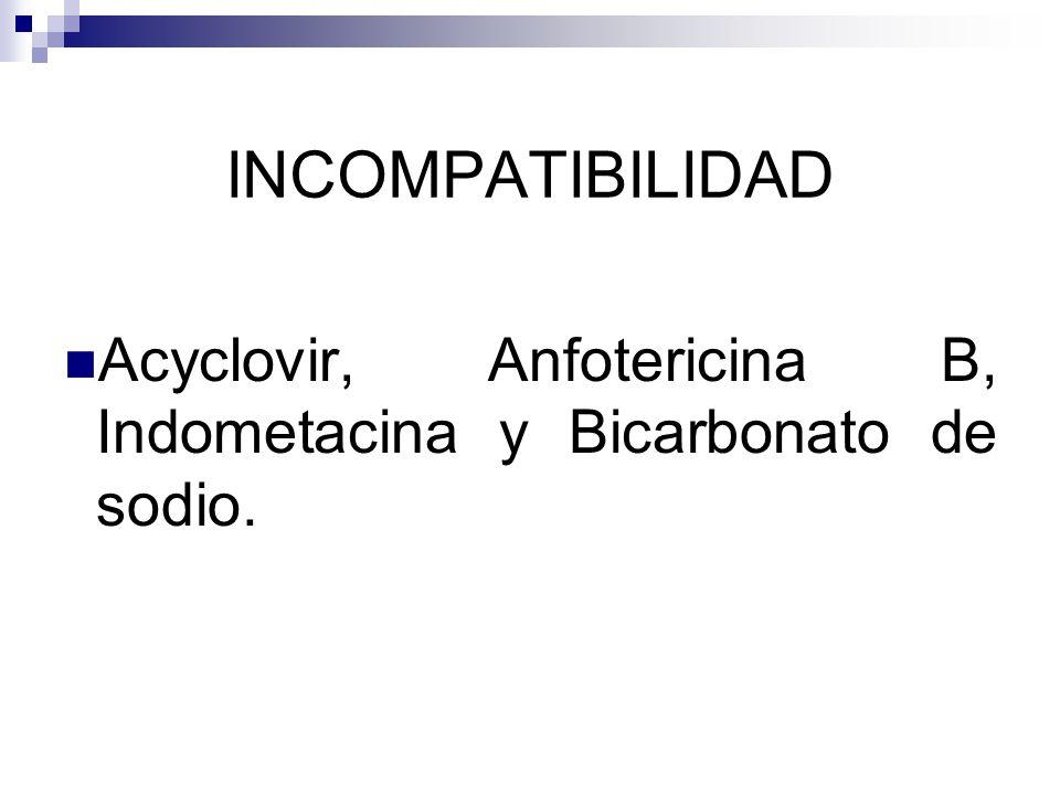 INCOMPATIBILIDAD Acyclovir, Anfotericina B, Indometacina y Bicarbonato de sodio.