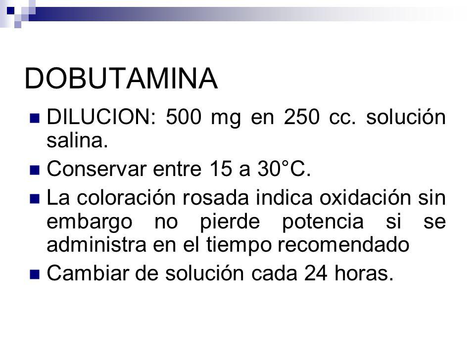 DOBUTAMINA DILUCION: 500 mg en 250 cc. solución salina.