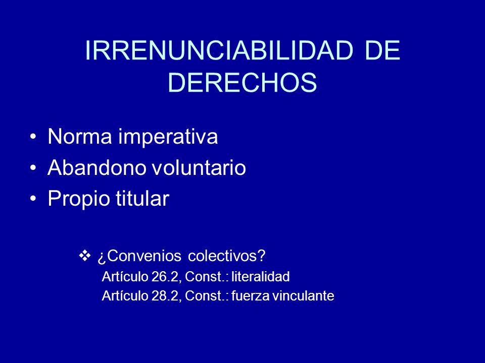 IRRENUNCIABILIDAD DE DERECHOS