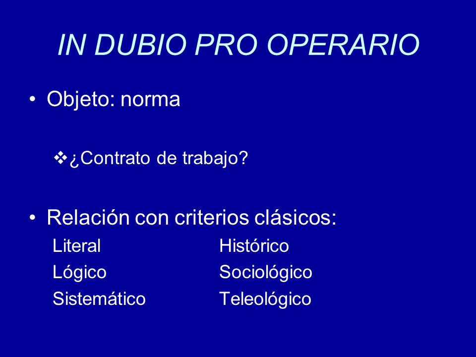 IN DUBIO PRO OPERARIO Objeto: norma Relación con criterios clásicos: