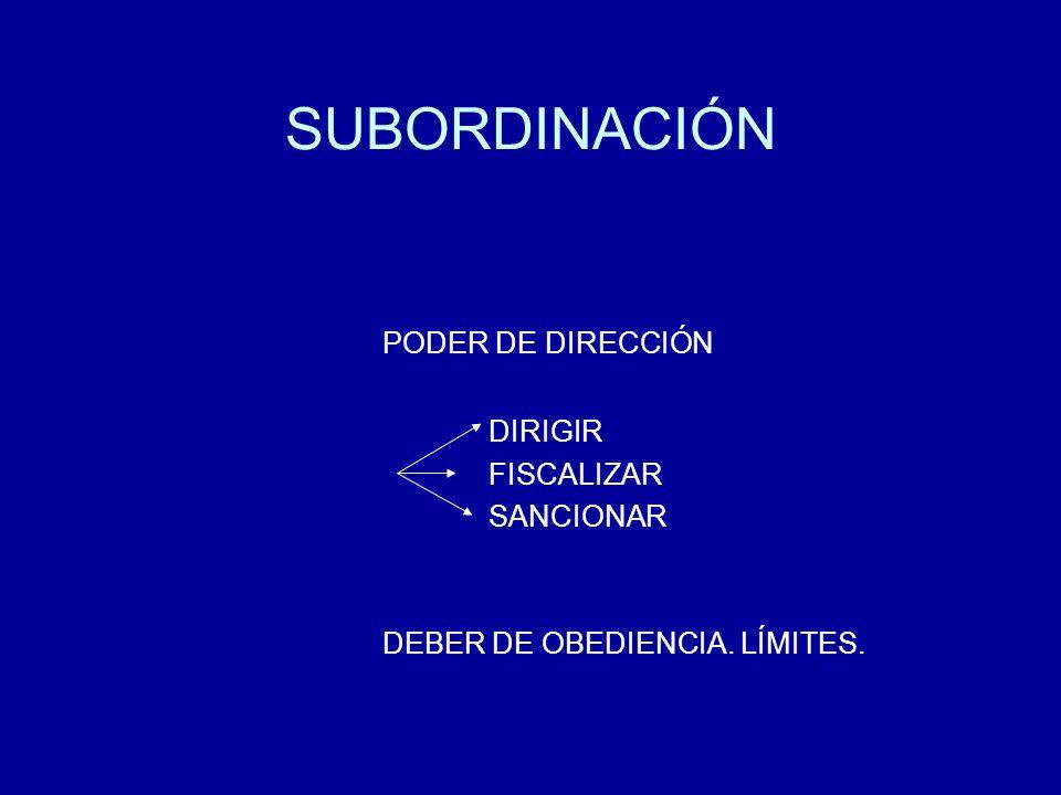 SUBORDINACIÓN PODER DE DIRECCIÓN DIRIGIR FISCALIZAR SANCIONAR