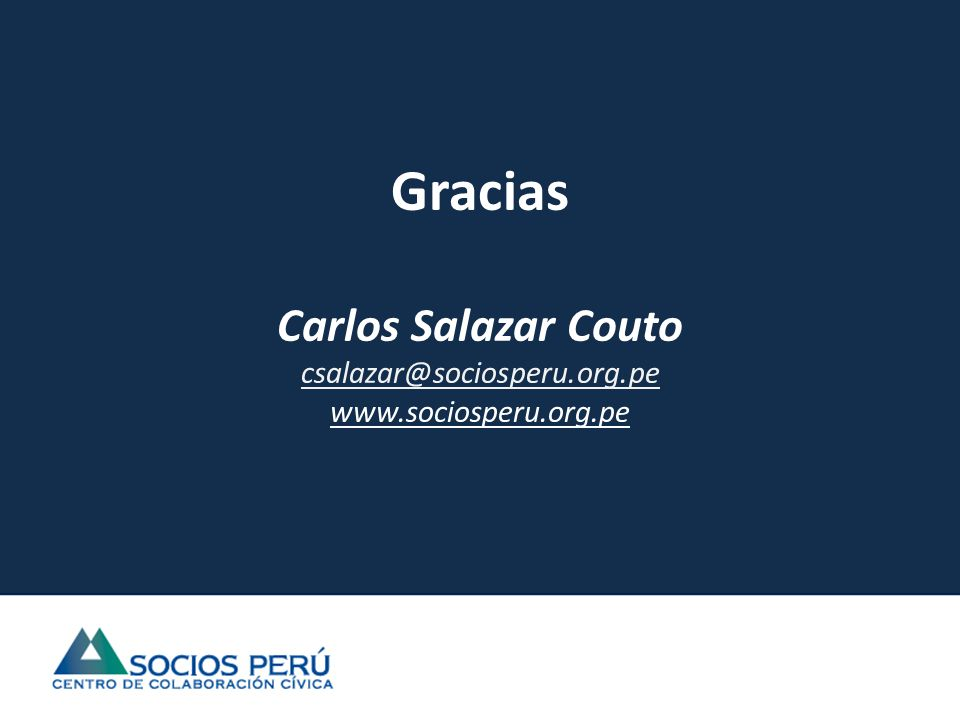 Gracias Carlos Salazar Couto csalazar@sociosperu.org.pe