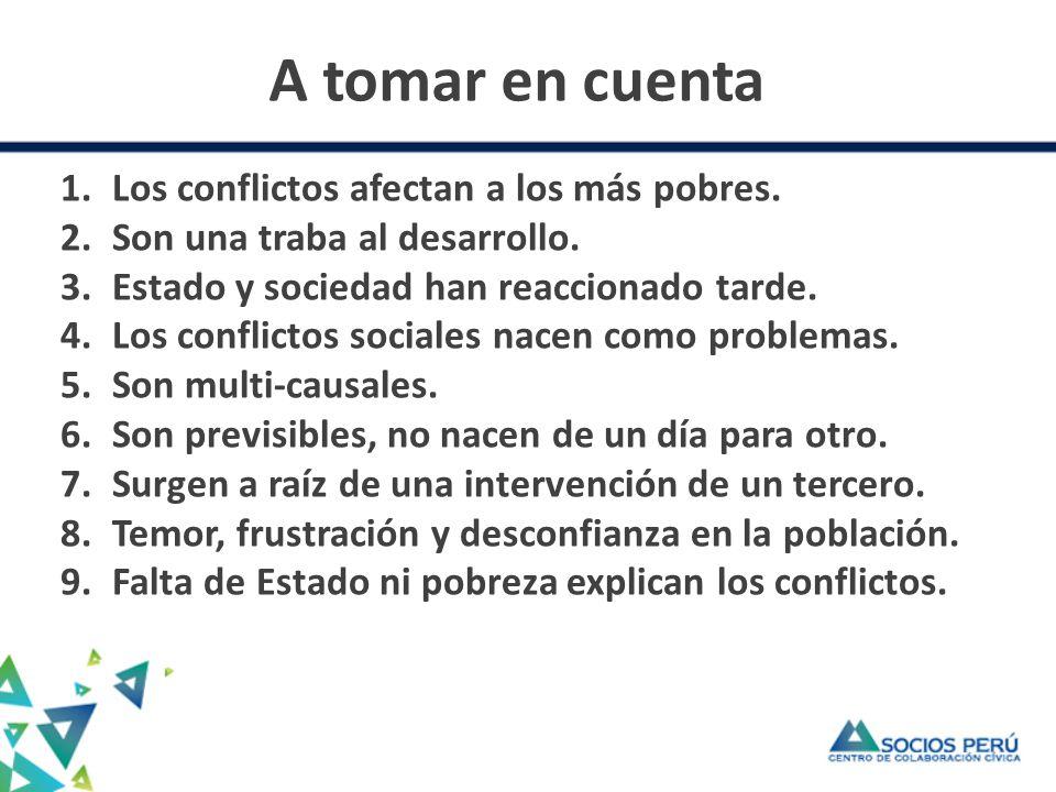 A tomar en cuenta Los conflictos afectan a los más pobres.