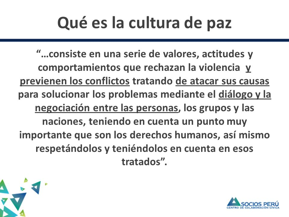 Qué es la cultura de paz
