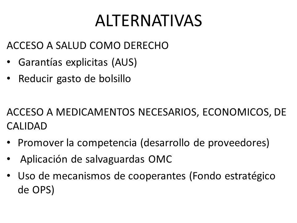 ALTERNATIVAS ACCESO A SALUD COMO DERECHO Garantías explicitas (AUS)