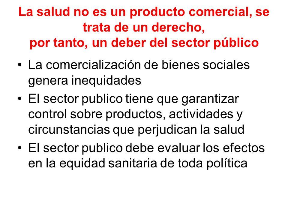La salud no es un producto comercial, se trata de un derecho, por tanto, un deber del sector público