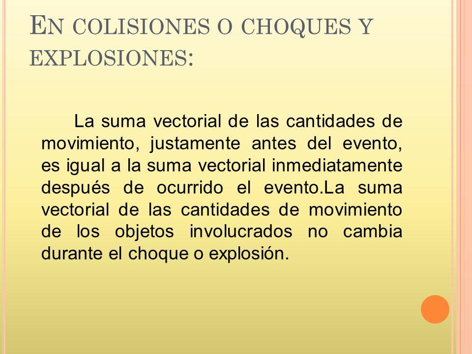 En colisiones o choques y explosiones: