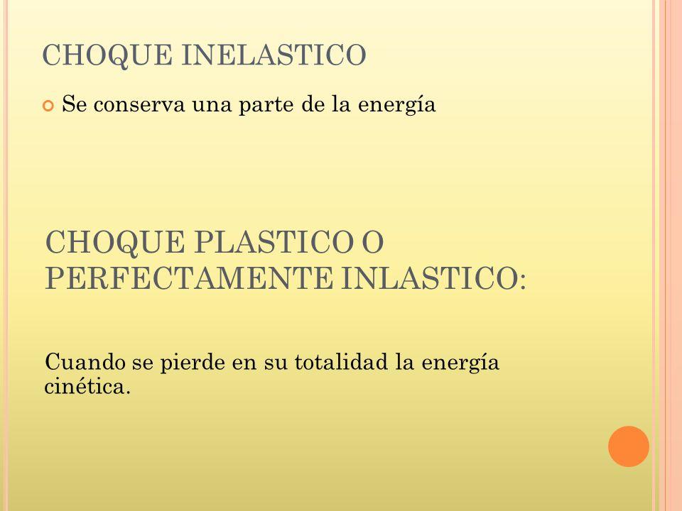CHOQUE PLASTICO O PERFECTAMENTE INLASTICO: