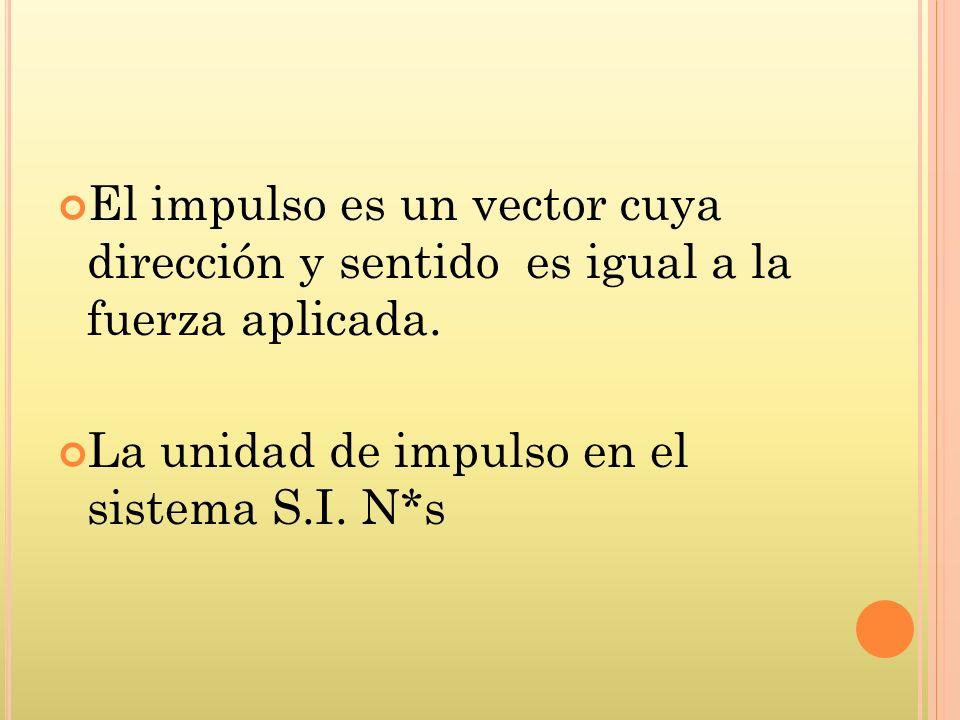 El impulso es un vector cuya dirección y sentido es igual a la fuerza aplicada.