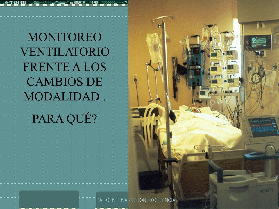 MONITOREO VENTILATORIO FRENTE A LOS CAMBIOS DE MODALIDAD .