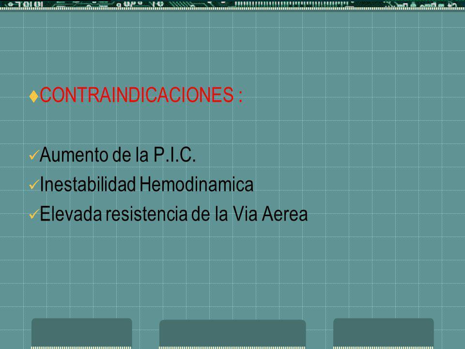 CONTRAINDICACIONES : Aumento de la P.I.C. Inestabilidad Hemodinamica.