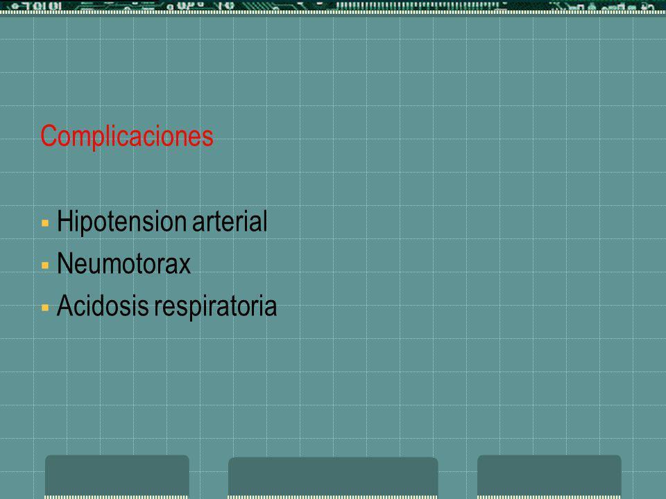 Complicaciones Hipotension arterial Neumotorax Acidosis respiratoria