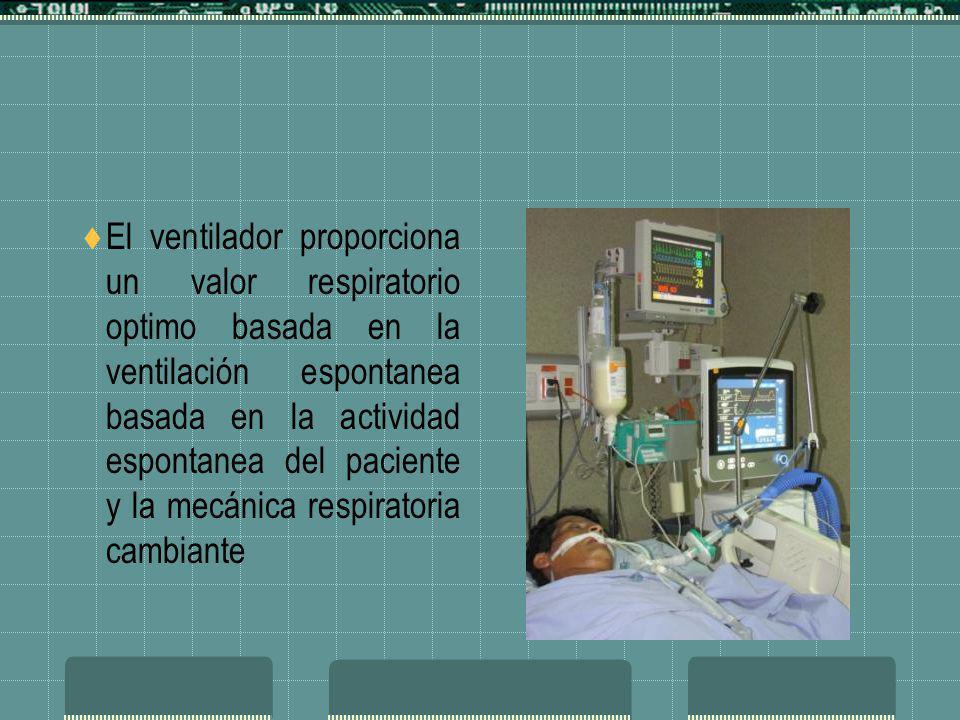 El ventilador proporciona un valor respiratorio optimo basada en la ventilación espontanea basada en la actividad espontanea del paciente y la mecánica respiratoria cambiante
