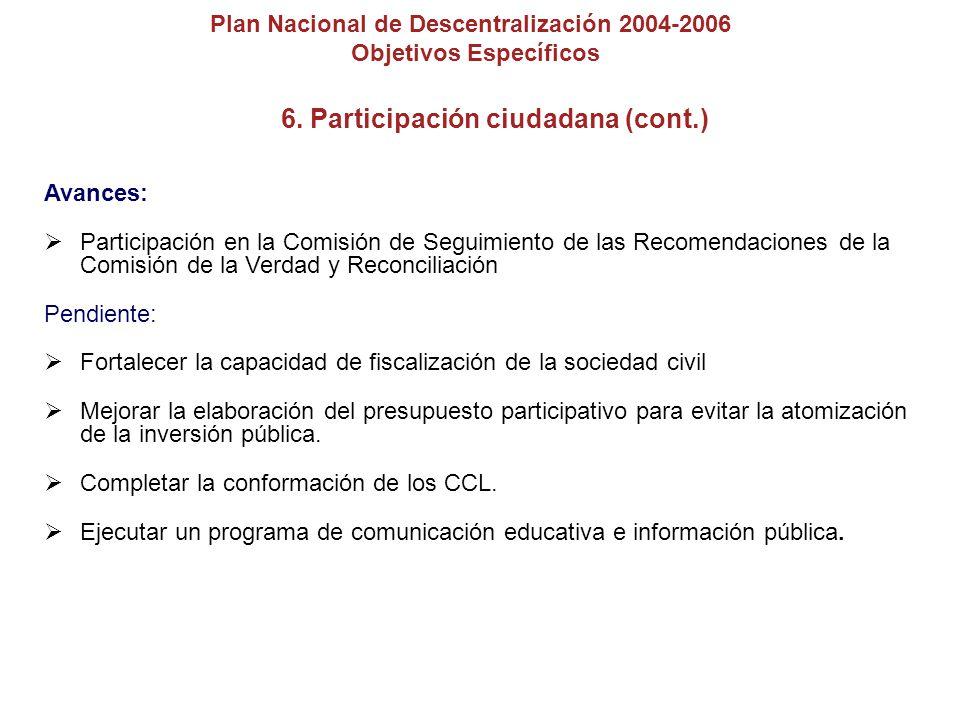 6. Participación ciudadana (cont.)