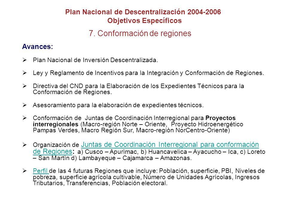 7. Conformación de regiones