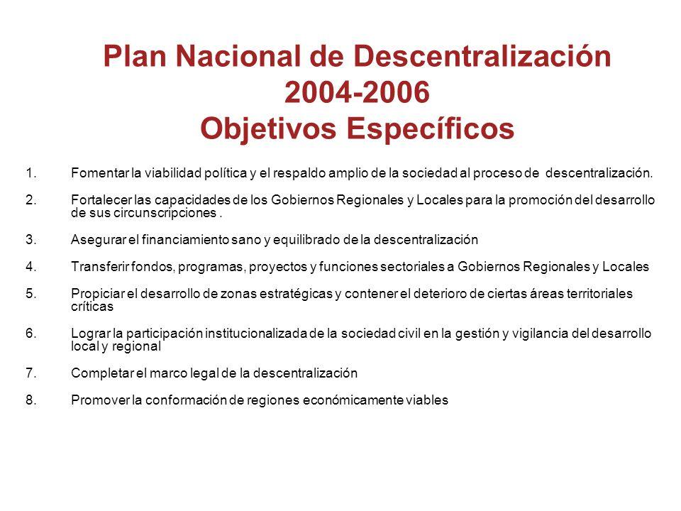 Plan Nacional de Descentralización 2004-2006 Objetivos Específicos