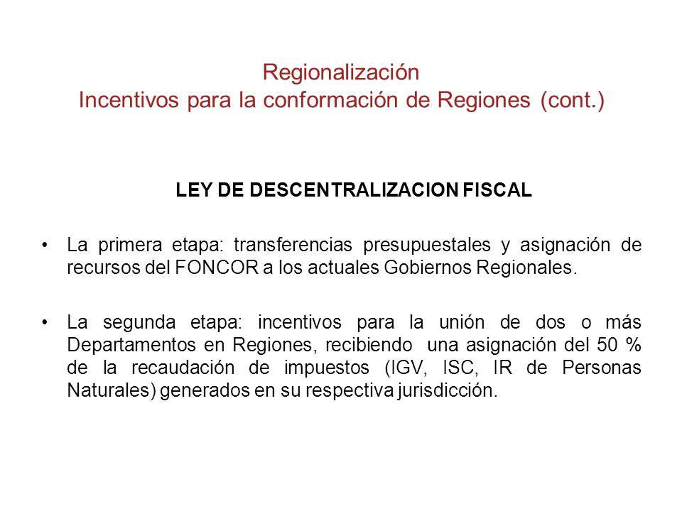 Regionalización Incentivos para la conformación de Regiones (cont.)