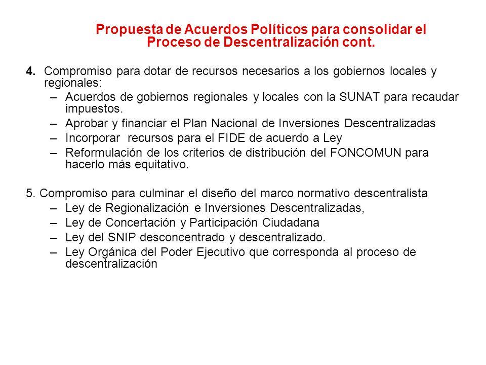 Propuesta de Acuerdos Políticos para consolidar el Proceso de Descentralización cont.