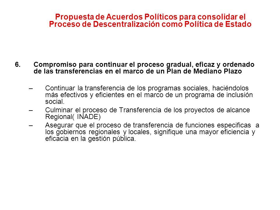 Propuesta de Acuerdos Políticos para consolidar el Proceso de Descentralización como Política de Estado