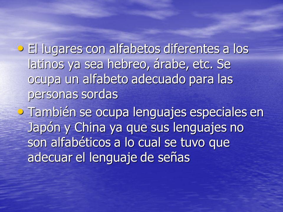 El lugares con alfabetos diferentes a los latinos ya sea hebreo, árabe, etc. Se ocupa un alfabeto adecuado para las personas sordas