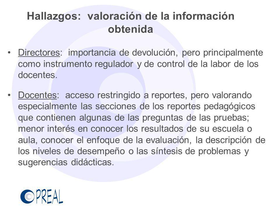 Hallazgos: valoración de la información obtenida