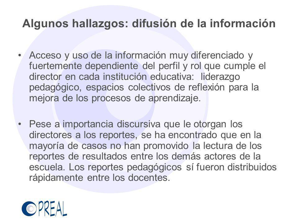 Algunos hallazgos: difusión de la información
