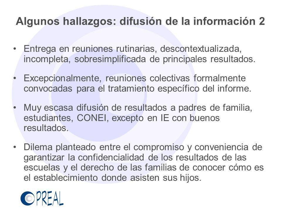 Algunos hallazgos: difusión de la información 2