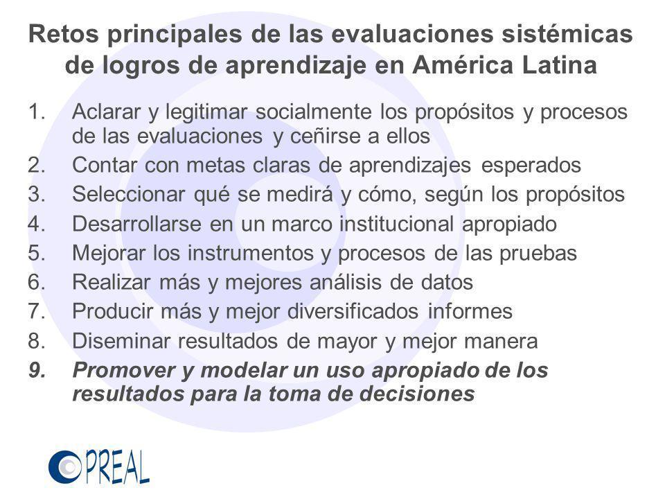 Retos principales de las evaluaciones sistémicas de logros de aprendizaje en América Latina