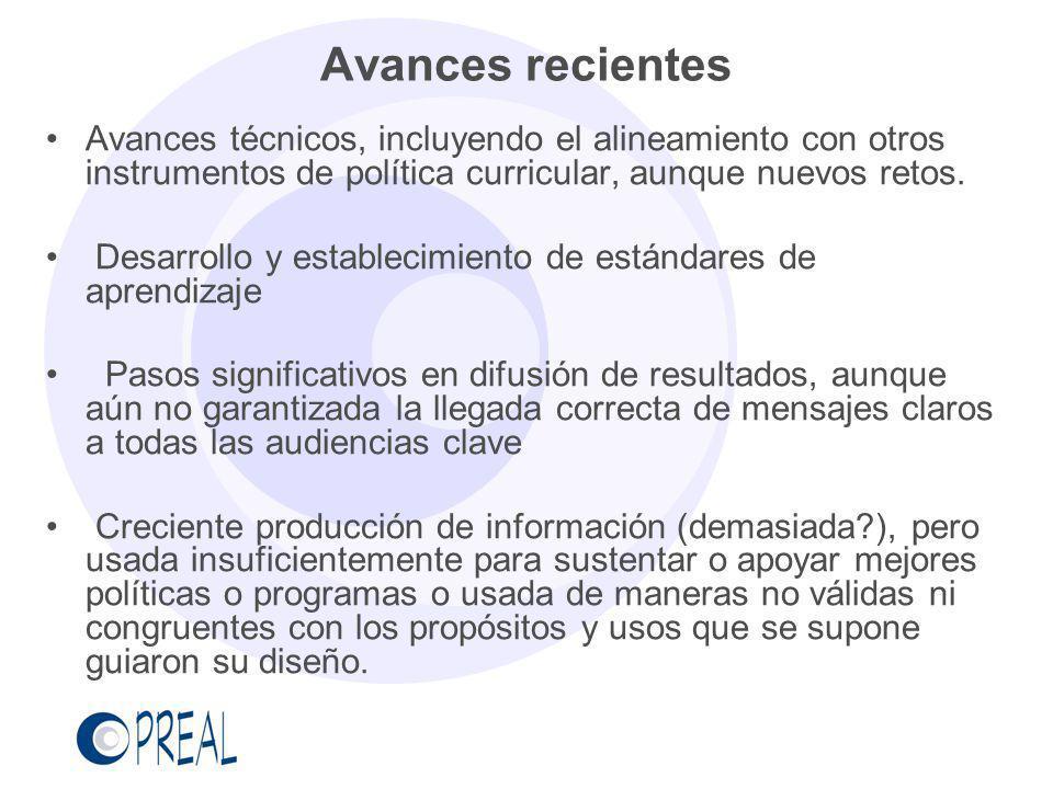 Avances recientes Avances técnicos, incluyendo el alineamiento con otros instrumentos de política curricular, aunque nuevos retos.