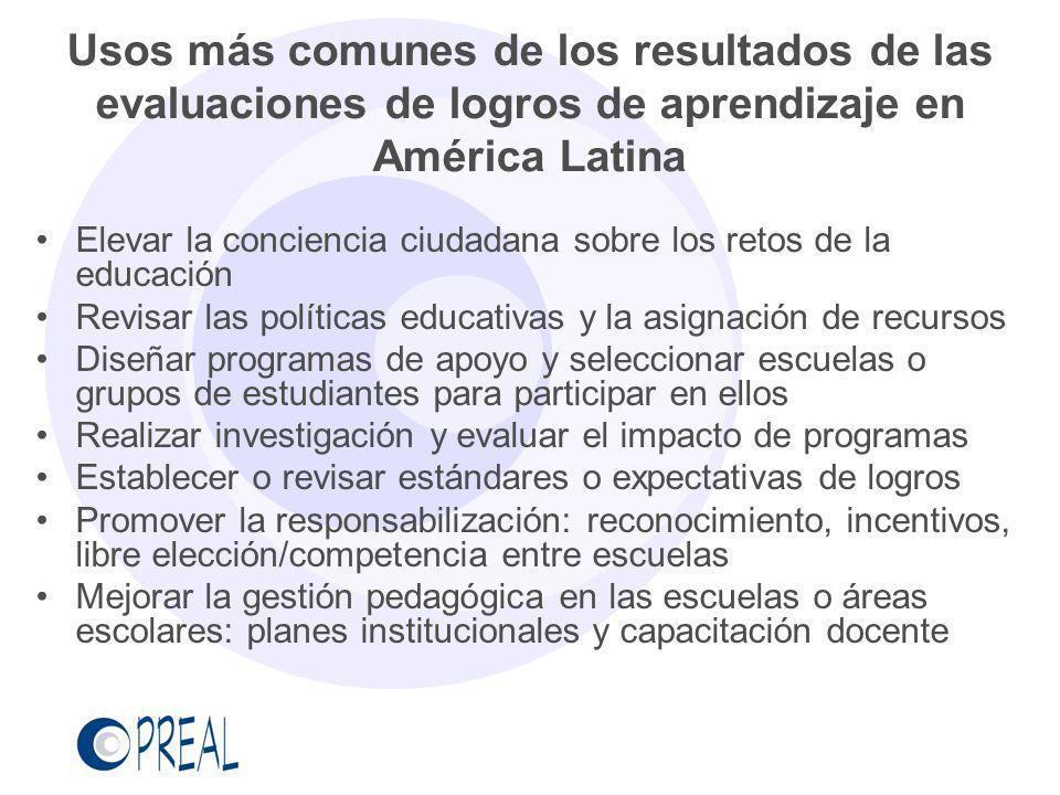 Usos más comunes de los resultados de las evaluaciones de logros de aprendizaje en América Latina