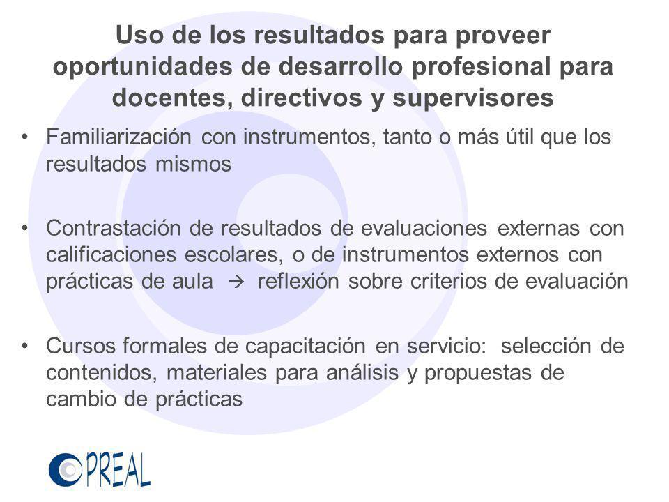 Uso de los resultados para proveer oportunidades de desarrollo profesional para docentes, directivos y supervisores