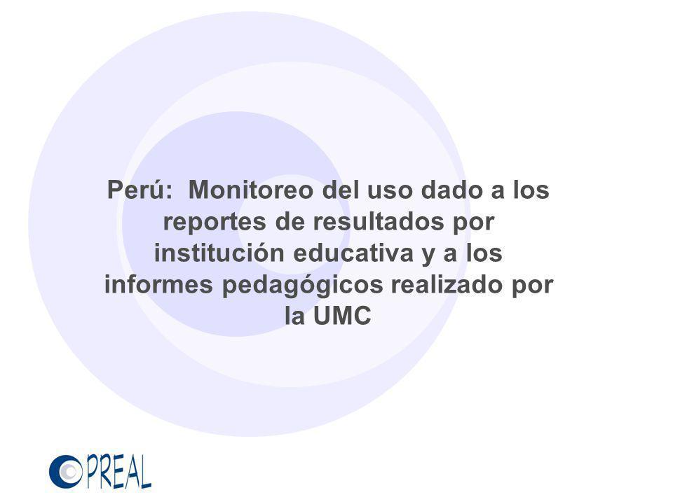 Perú: Monitoreo del uso dado a los reportes de resultados por institución educativa y a los informes pedagógicos realizado por la UMC