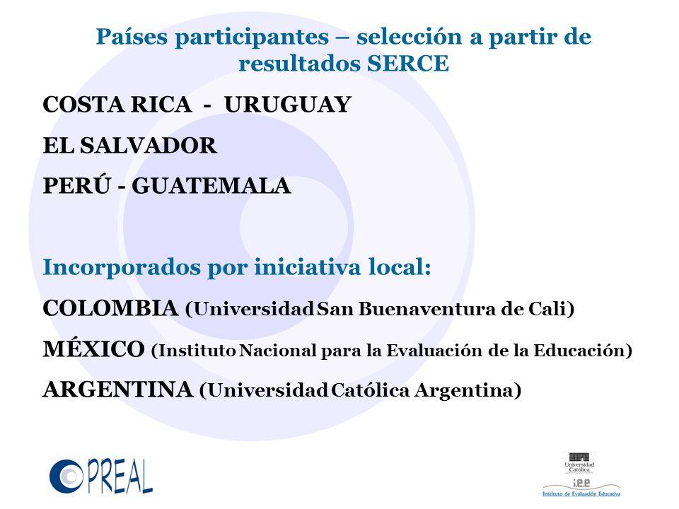 Países participantes – selección a partir de resultados SERCE